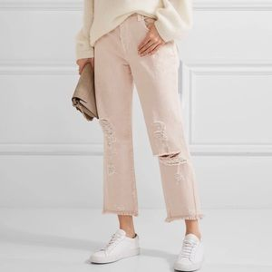 J BRAND Ivy High Rise Crop Straight Jeans Pink 28